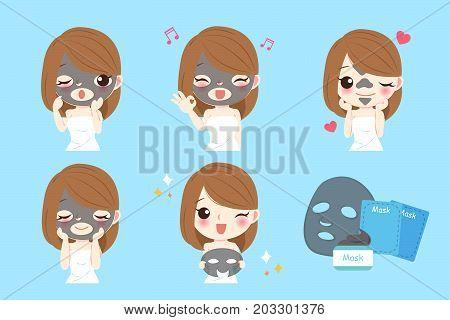 beauty cartoon skin care woman with mask