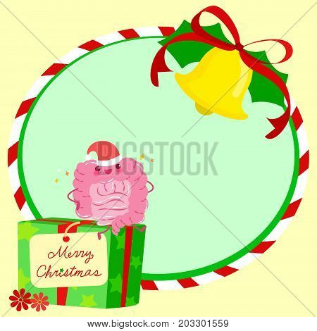 intestine with christmas on the green background