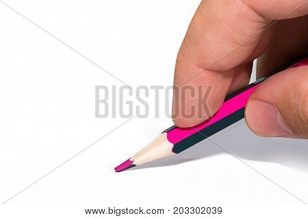 Man's Hand Holds A Two-tone Color Pencil