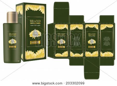 Label on packaging container with yellow flowers on green background box design template and mockup box. Illustration vector