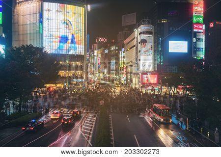 Shibuya Scramble Crossing In Tokyo, Japan