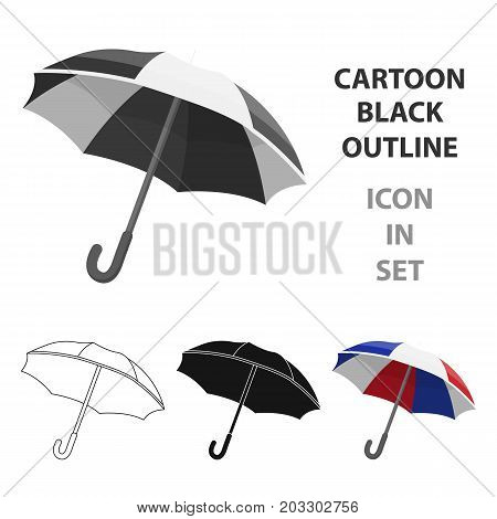 Umbrella icon in cartoon design isolated on white background. France country symbol stock vector illustration.