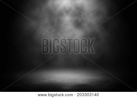 White spotlight spotlight on brick floor background.