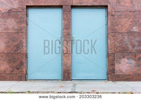 Fire resistance steel door and security system. Outdoor building