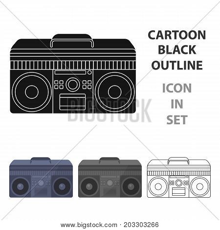 Boombox icon in cartoon design isolated on white background. Hipster style symbol stock vector illustration.