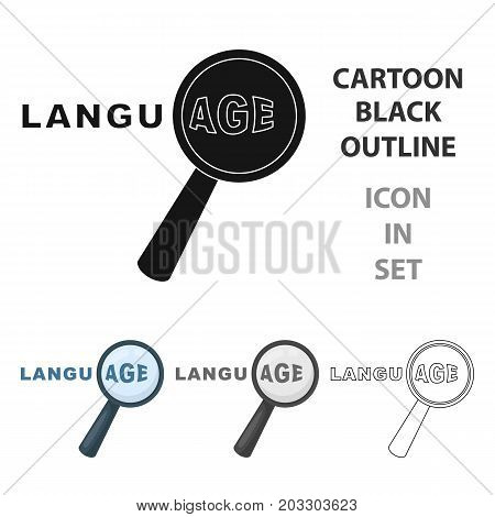 Learning foreign language icon in cartoon design isolated on white background. Interpreter and translator symbol stock vector illustration.