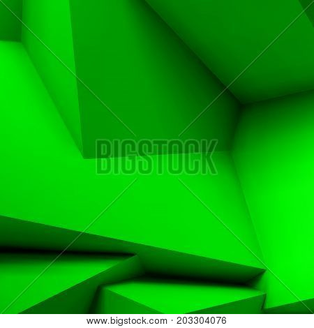 Abstract geometric background with realistic overlapping green cubes