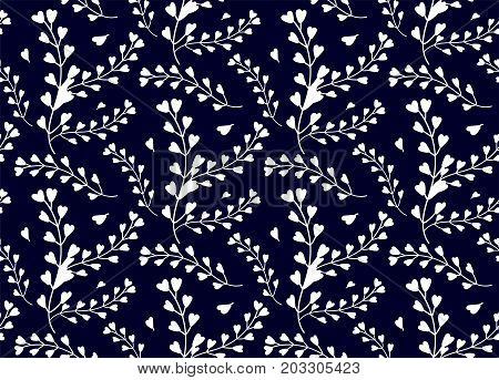 Seamless pattern of windflower pickpurse mothers-heart herb leaf natural botanical foliage white silhouette Vector abstract wildflower decorative beautiful elegant print isolated navy blue background