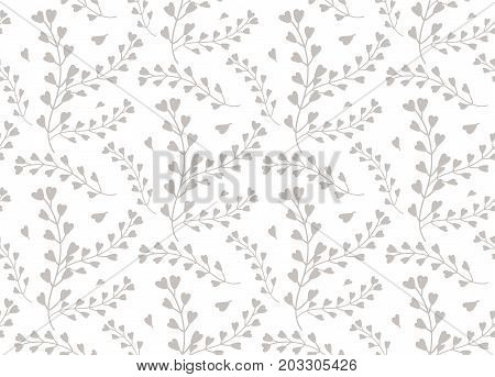 Seamless pattern of windflower pickpurse mothers-heart herb leaf natural botanical foliage gray silhouette. Vector wildflower lovely cute decorative beautiful elegant print isolated white background