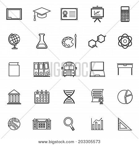 Education line icons on white background, stock vector
