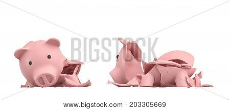 3d rendering of a pink ceramic piggy bank completely broken up into several large pieces. Saving money. Bank insurance. Loss of investment.