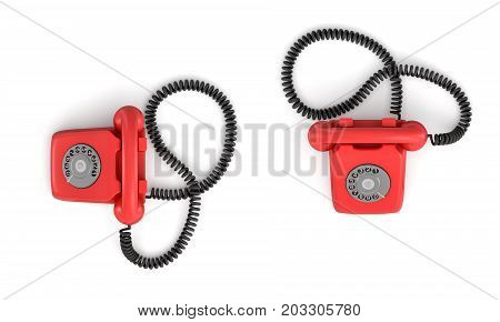 3d rendering of an old-fashioned rotary phone in top view on white background. Emergency number. Red phone. Secure line.