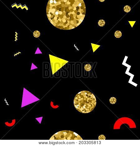Memphis style seamless pattern with golden glitter circles