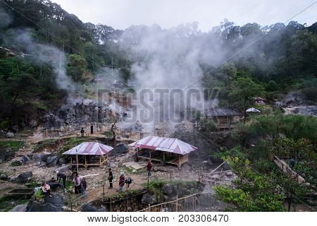 Kawah Rengganis (Cibuni) Indonesia June 2017: Hot Springs inside crater of volcano Ciwidey Bandung West Java Indonesia