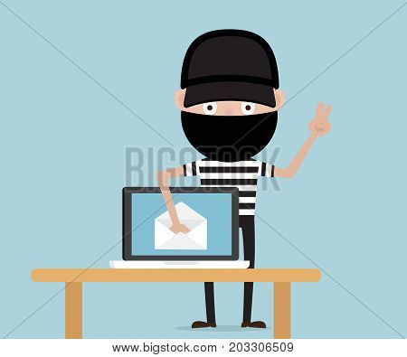 thief steal data from email on laptop network security concept cartoon vector illustration