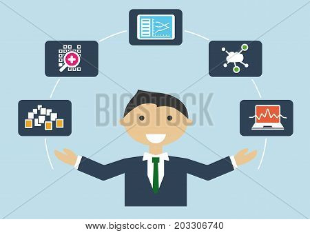 Vector Illustration of IT expert with job profile of a big data scientist or data analyst