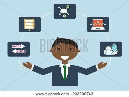 Vector illustration of IT expert or IT developer for cloud computing in flat design