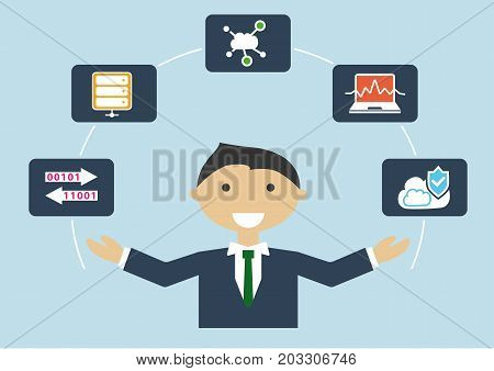 IT job profile vector illustration of business person. IT expert for cloud computing and infrastructure