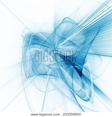 Abstract blue and white background. Fractal graphics series. Three-dimensional composition of dots, waves and rays of light.