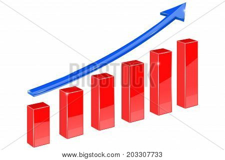 Financial graph. Blue and red up rising arrow. Vector illustration isolated on white background
