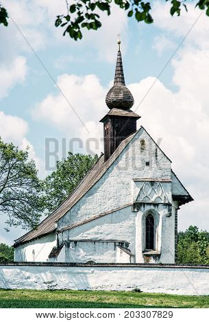 Chapel of Our Mother God near Veveri castle Moravia Czech republic. Travel destination. Religious architecture. Blue photo filter.