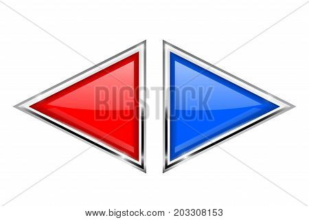 Red and blue triangle buttons with metal frame. Vector 3d illustration isolated on white background