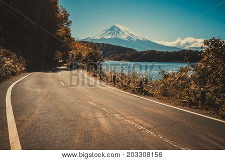 Mt Fuji In Japan And Road At Lake Kawaguchiko