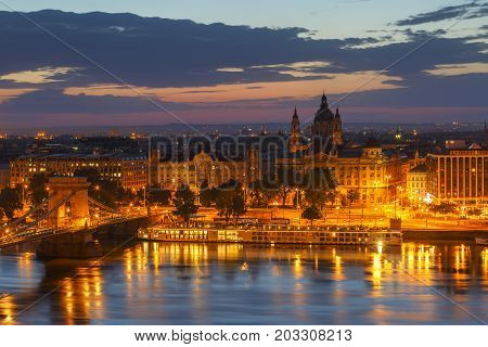 BUDAPEST, HUNGARY - AUGUST 04, 2017: Morning view of city centre of Budapest over the river Danube, Hungary on August 04, 2017.