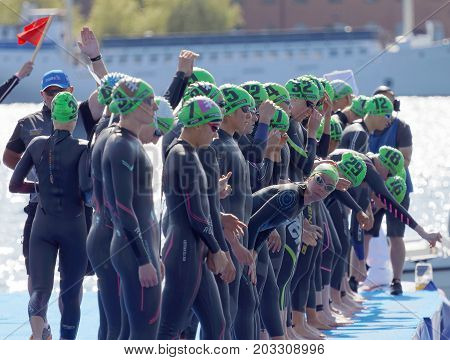 STOCKHOLM - AUG 26 2017: The female swimming competitors waiting for the start signal in the Women's ITU World Triathlon series event August 22 2017 in Stockholm Sweden