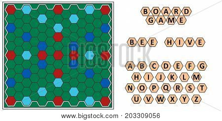Board game Bee hive, developing erudition, bee honeycomb board and letters scrabble, vector board game for the family to play at night, writing words from letters