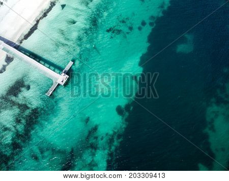 Aerial photograph of the jetty at Coogee Beach, Perth, Western Australia, Australia.
