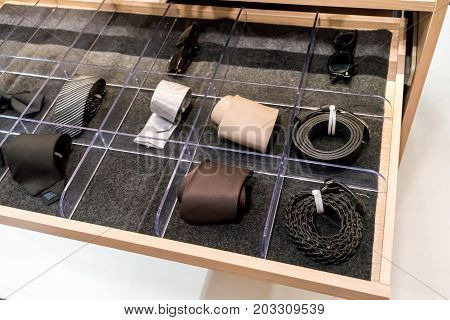 Mens Accessories In Closet Drawer