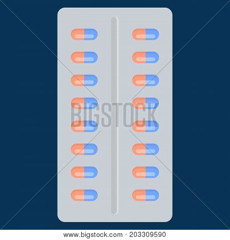 Pill in blister pack vector illustration. Flat style design. Colorful graphics