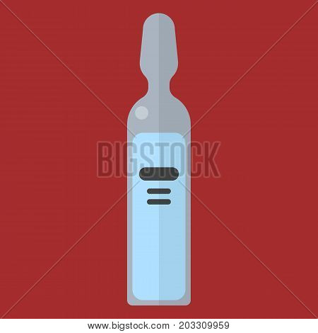 Ampoule with medicine vector illustration. Flat style design. Colorful graphics