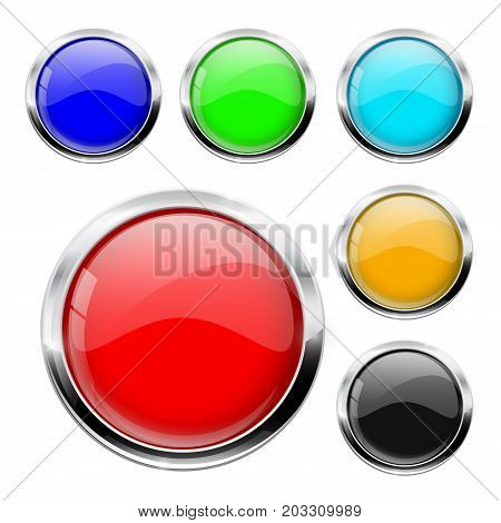 Round button with chrome frame. Colored set. Vector illustration isolated on white background
