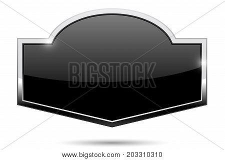 Decorative black button with chrome frame. Vector illustration isolated on white background