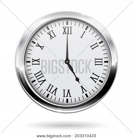 Round clock with chrome frame. Vector illustration isolated on white background