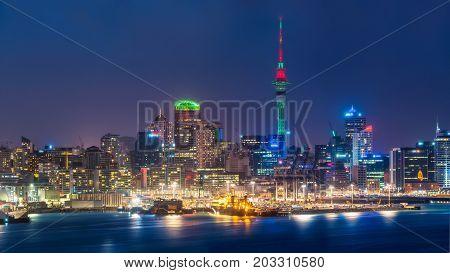 Auckland City Skyline At Night