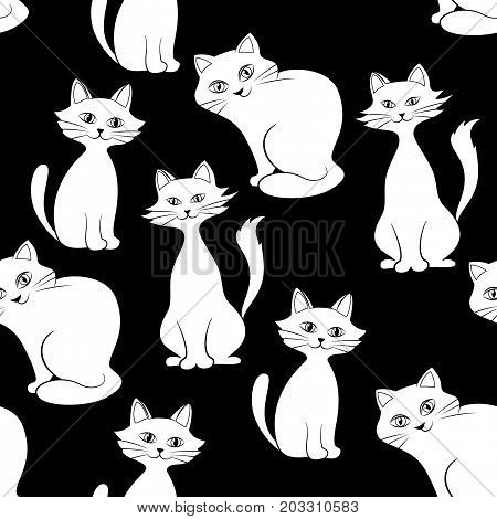 Seamless Background with White Contour and Silhouettes Cartoon Cats on Black, Tile Pattern for Your Design. Vector