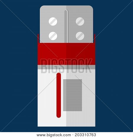 Blister pack with pills in box vector illustration. Flat style design. Colorful graphics
