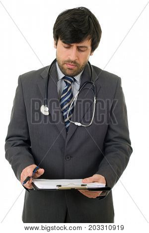 male doctor thinking with his notes, isolated over white background