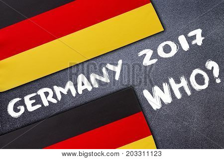 Election in Germany on the chalk board . Election concept