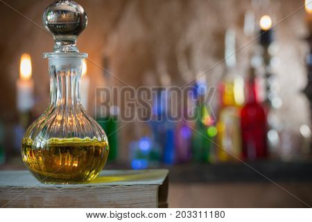 Magic potion ancient a books and candles