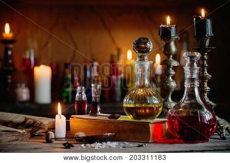 Magic potion ancient a books and a candles