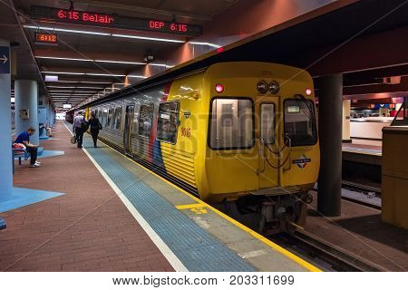 Adelaide Australia - October 14 2016: 6:15pm train to Belair with people onboard ready to depart from Adelaide Railway station in CBD