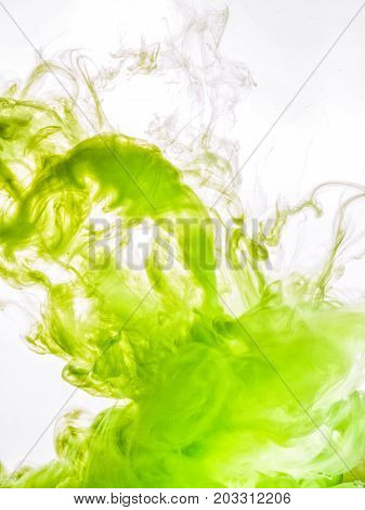 Ink swirl in water isolated on white background. The paint in the water. Soft dissemination a droplets of green ink in water close-up. Abstract background. Soft focus.