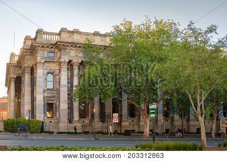 Adelaide Australia - October 14 2016: Old Parliament House viewed across King William street in Adelaide CBD on a day