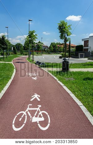 Road marking of the bicycle path and a parking in a district