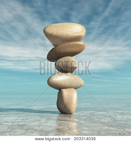 Conceptual of image with meditation stones. This is a 3d render illustration