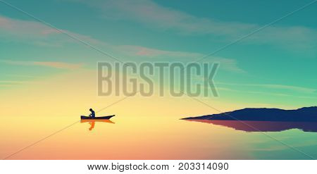 Man in a boat on the lake at sunset. This is a 3d render illustration